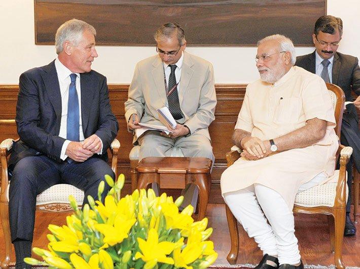 US defence secretary Chuck Hagel met PM Narendra Modi on August 8.