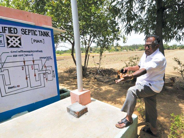 Subburaman describes a sanitary  septic tank in a village near Trichy