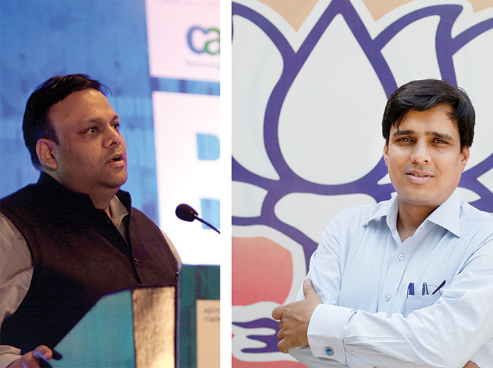 Arvind Gupta, convener (left) and Vinit Goenka, co-convener (right) of BJP's national information technology (IT) cell
