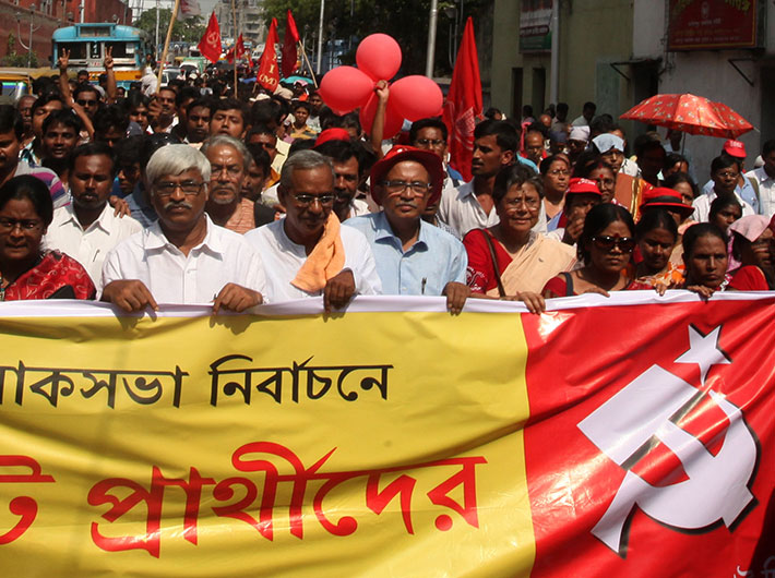 A Left procession in Kolkata ahead of the Lok Sabha elections.