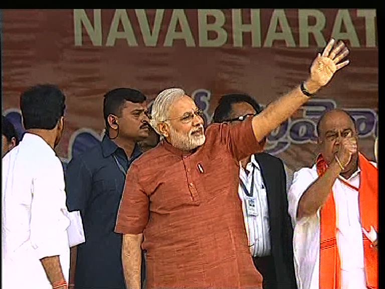 Modi in Hyderabad: his first major rally down south