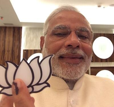 Narendra Modi`s much-discussed selfie after casting his vote in Ahmedabad on April 30.