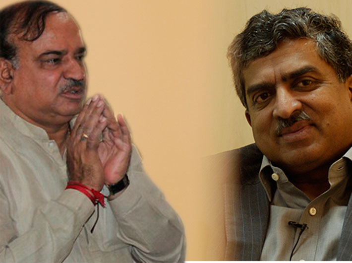 With 2.14 lakh new voters registered in Bangalore South constituency, it`s a tough fight between BJP's Ananth Kumar (left) and Congress`s Nandan Nilekani (right).