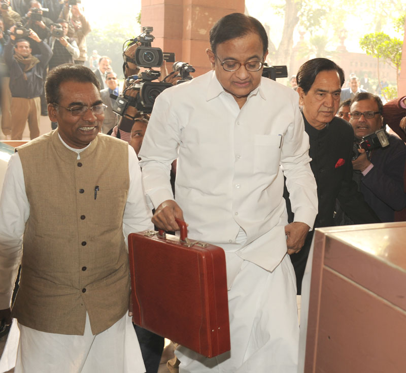 Chidambaram arrives in parliament on Monday.