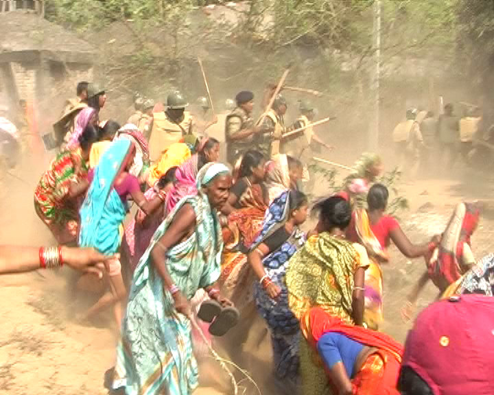 Women protesting land acquisition on March 7