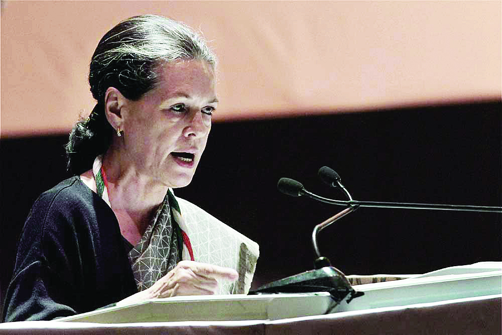Sonia Gandhi addressing a party chintan shivir session in Jaipur