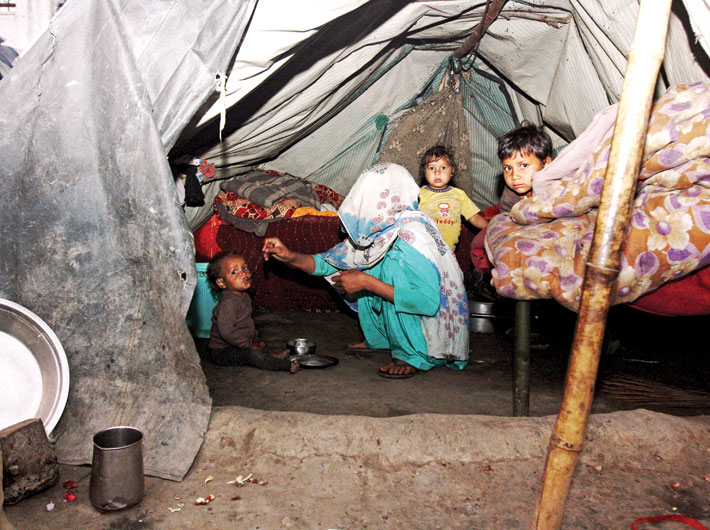 Homeless riot victims at one of the many refugee camps in Muzaffarnagar.