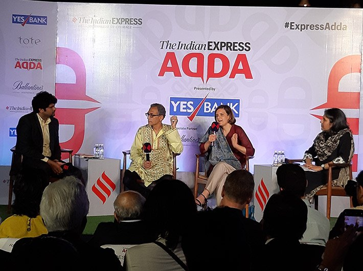 Abhijit Banerjee and Ester Duflo in conversation at the Express Adda in Mumbai.