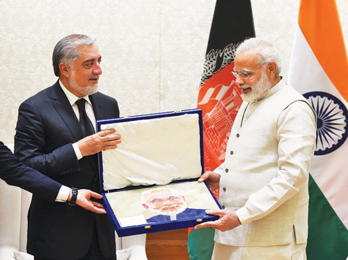Afghanistan chief executive Abdullah Abdullah calls on prime minister Narendra Modi in New Delhi on September 28.