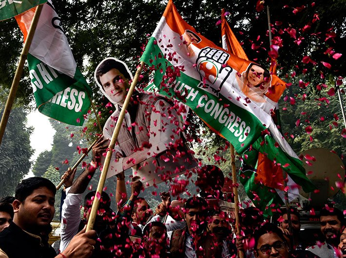 Celebration at AICC office in New Delhi (Photo: Arun Kumar)