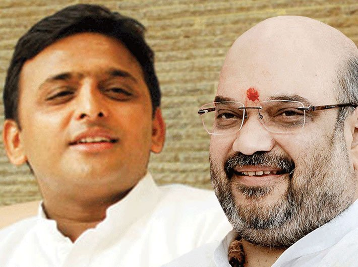 Akhilesh Yadav and Amit Shah: In Uttar Pradesh, it`s a high-stake fight for both.