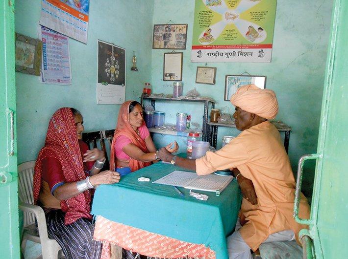Vardaram and his patients in village Dudhalia of Kumbalgarh, Rajasthan