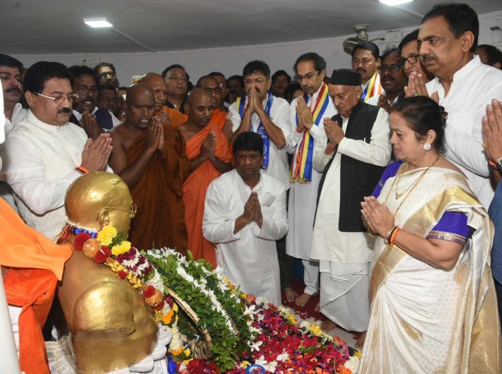 Maharashtra chief minister Uddhav Thackeray and other leaders at the Chaityabhoomi on Friday
