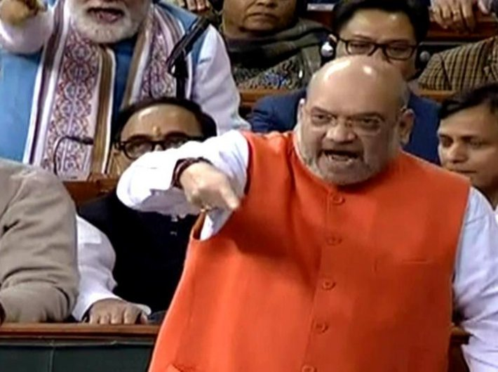 Home minister Amit Shah leading the discussion on the Citizenship Amendment Bill in the Lok Sabha on Monday