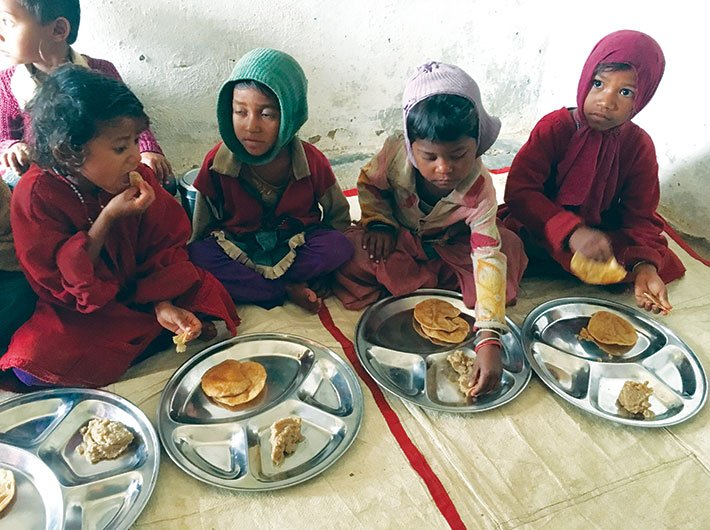 Poori and sooji halwa – hardly the ideal diet for children –  is what is served to children at the Kilhora anganwadi