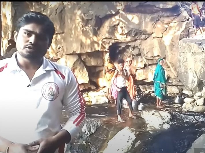 Arjun Pawra in a video about the water shortage in villages