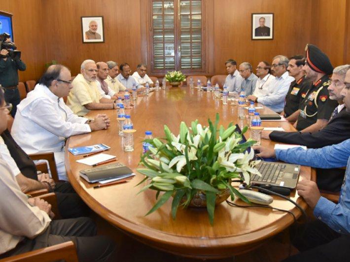 PM Modi chairing the CCS meeting on the situation on LoC, in New Delhi on September 29