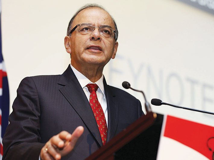 Finance minister Arun Jaitley delivering the keynote address at the Make in India conference in Sydney last year
