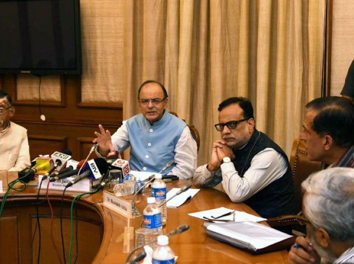 Finance minister Arun Jaitley briefing the media about the outcome of the 2nd meeting of the GST Council, in New Delhi on September 30. Minister of state for finance Santosh Kumar Gangwar and revenue secretary Hasmukh Adhia are also seen.