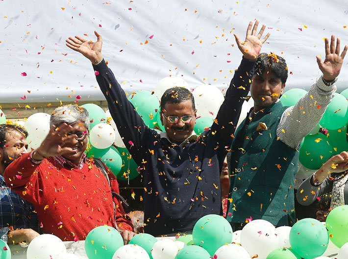 Kejriwal and colleagues after the 2015 election results (Photo: Arun Kumar)