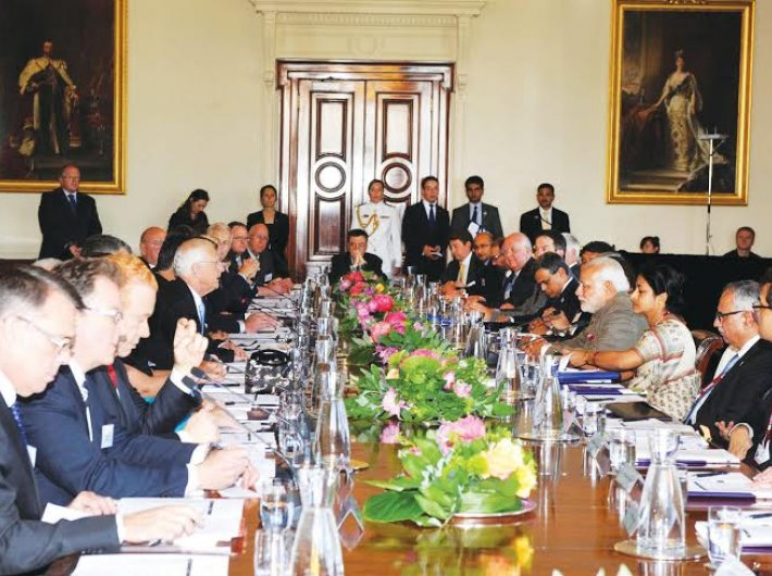 Prime minister Narendra Modi meeting Australian CEOs in Melbourne on November 18