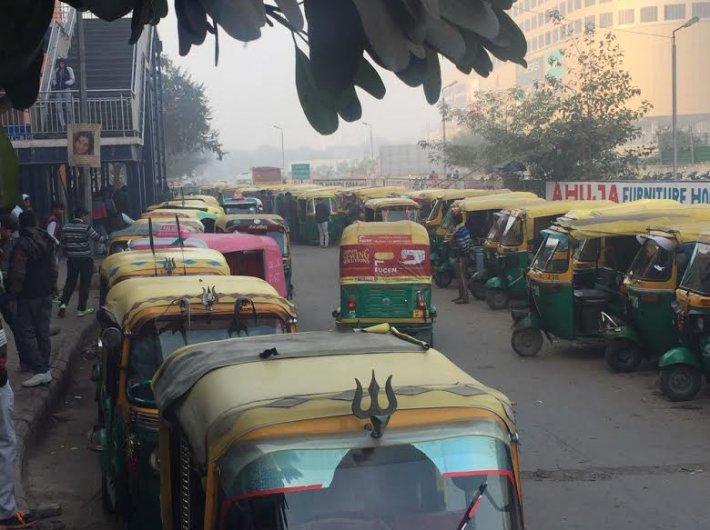 Service lane outside Noida City Centre metro station