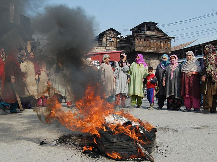 Women protesting against NFSA at Sathu Barbarshah in downtown Srinagar.