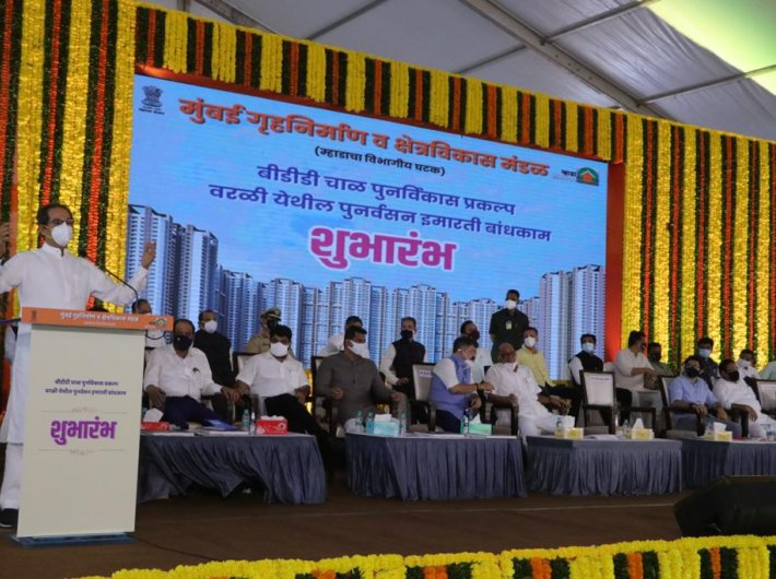 Thackeray, Pawar lay foundation stone for BDD Chawls redevelopment