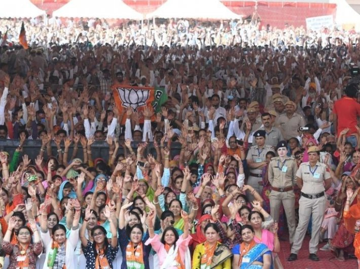 BJP supporters at an election rally in Haryana addressed by prime minister Narendra Modi (Photo courtesty: narendramodi.in)