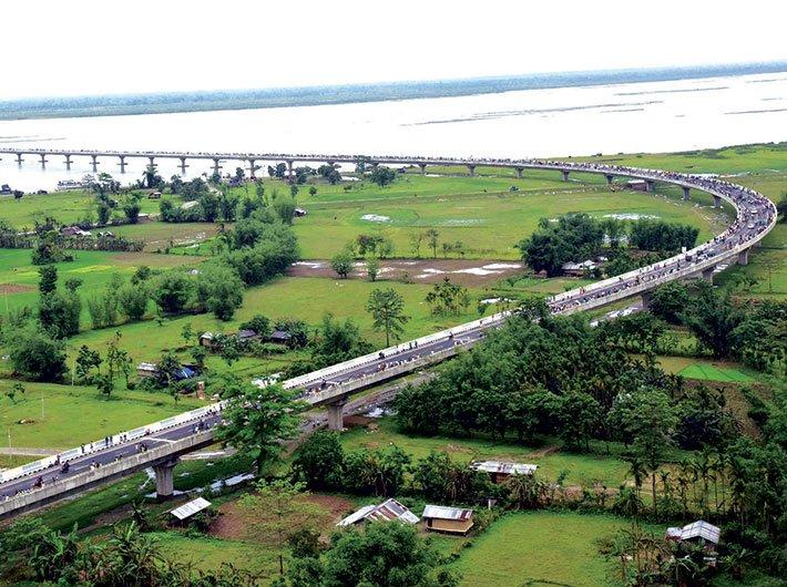 An aerial view of the Dhola-Sadiya bridge across the Brahmaputra