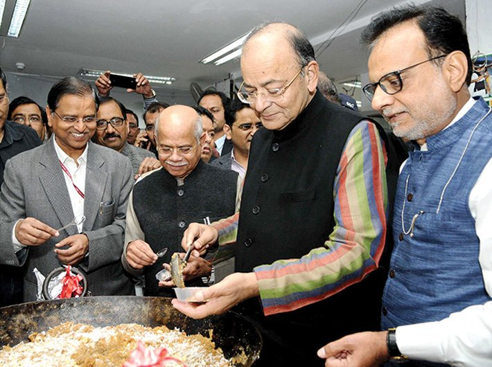 Finance minister Arun Jaitley at the 'Halwa ceremony', a tradition that marks the beginning of the budget printing process, on January 20. Also seen are minister of state Shiv Pratap Shukla, finance secretary Hasmukh Adhia and economic affairs secretary SC Garg.