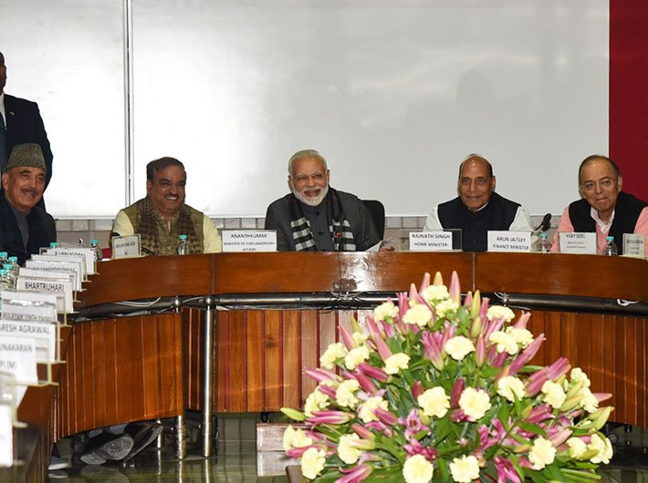 Prime minister Narendra Modi at the all-party meeting on the eve of the budget session, in Parliament House, on January 28