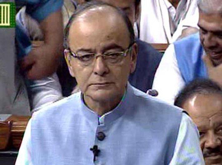 Finance minister Arun Jaitley presenting budget in Lok Sabha