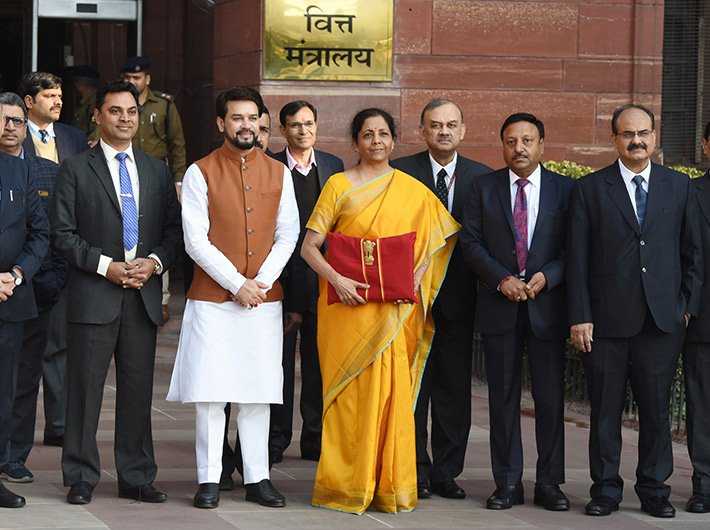 Finance minister Nirmala Sitaraman and the finance ministry team leave the North Block headquarters before the budget presentation.