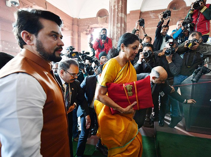 Finance minister Nirmala Sitaraman and MoS Anurag Singh Thakur enter parliament to present the union budget on Saturday