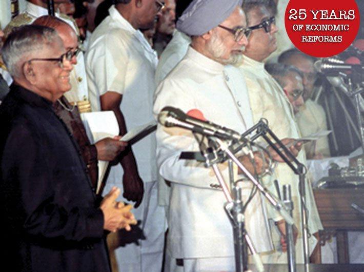 Manmohan Singh taking oath as cabinet minister in 1991