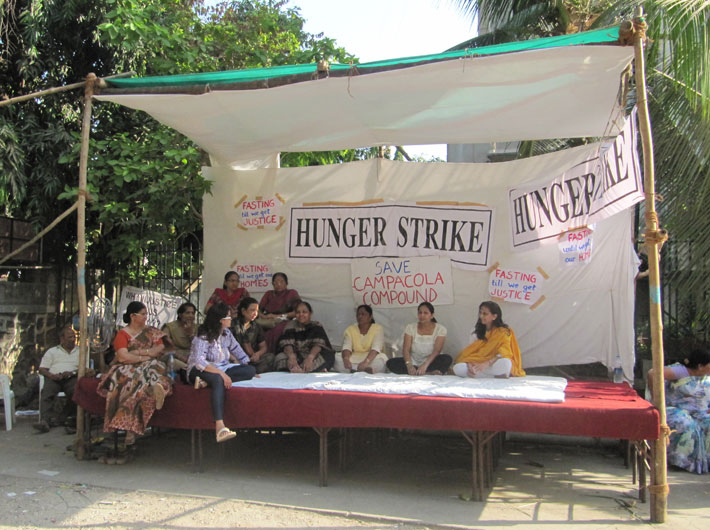 Threatened with imminent eviction, residents of Campa Cola compound at Worli, Mumbai, stage a hunger strike.