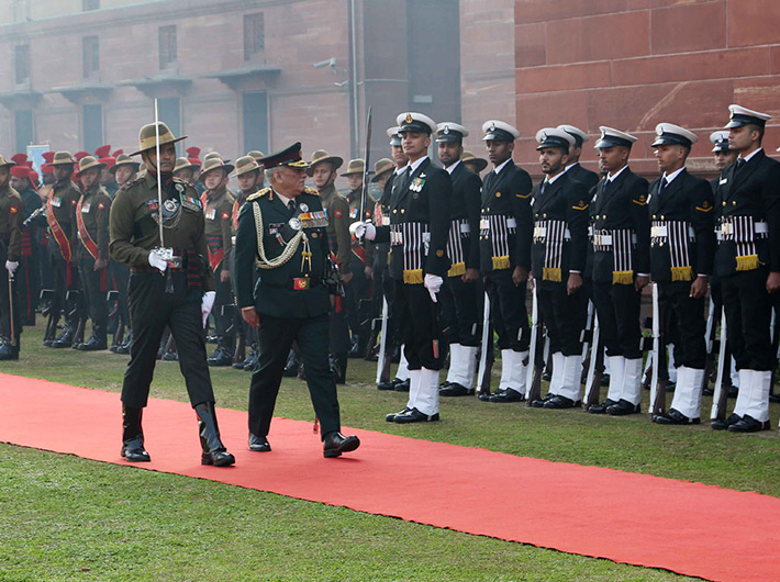 The Chief of Defence Staff (CDS), General Bipin Rawat inspecting the Tri-Service Guard of Honour, in New Delhi on Wednesday