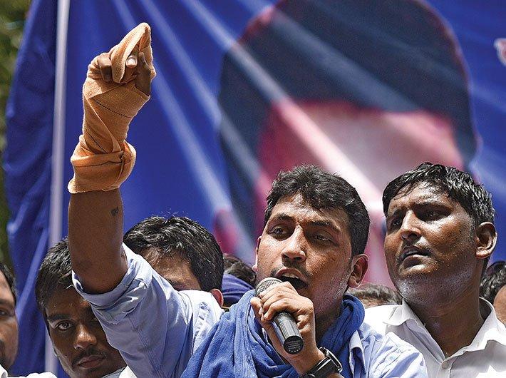 Chandrashekhar Azad (Ravan) of the Bhim Army addressing a rally in New Delhi. (GN Photo)