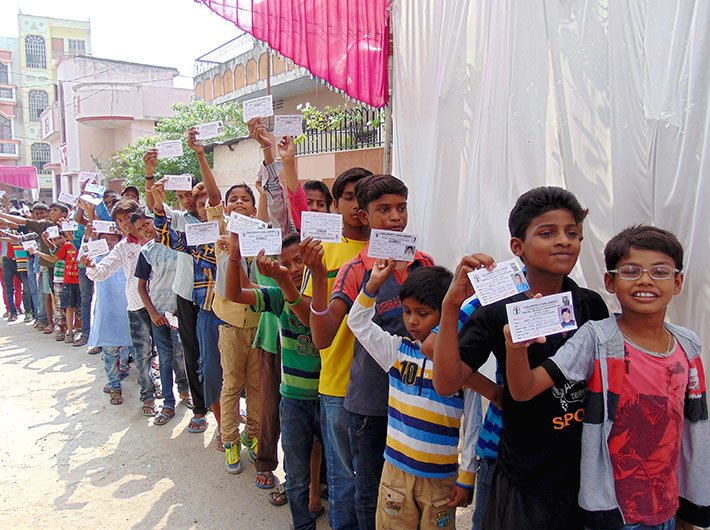 Children queued up to cast their vote
