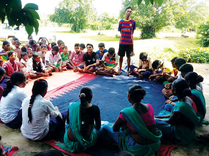 A children's parliament in progress in Madya Pradesh