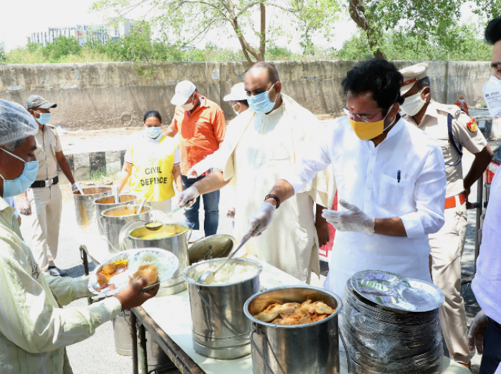 Minister of state for home G Kishan Reddy visiting the emergency kitchen of ISKON temple serving food to five lakh people every day during lockdown due to COVID-19, at Dwarka, in New Delhi on Monday.