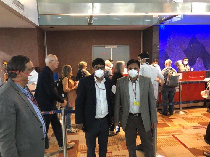 Special secretary (health) Sanjeeva Kumar inspected the screening facility at Delhi airport Monday evening. (Photo: @MoHFW_INDIA)
