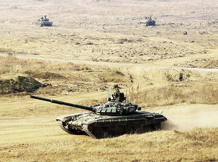 A battle tank participating in Indra 2017, the first tri-service exercise between India and Russia, in October.