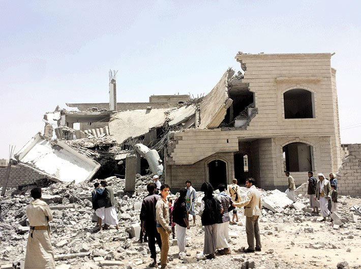 A Saudi-led air strike on Sana'a, Yemen, in 2015