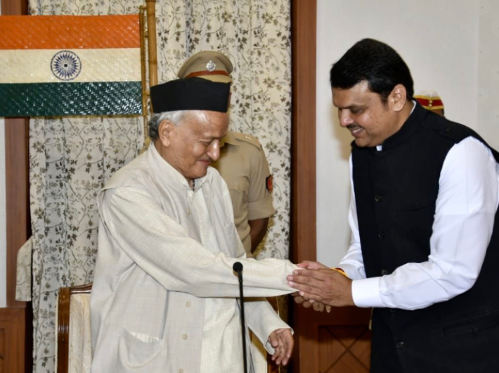 Devendra Fadnavis after being sworn as as chief minister by governor Bhagat Singh Koshyari on Saturday (Photo courtesy: @Dev_Fadnavis)