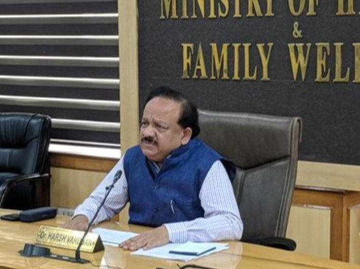 Health minister Dr Harsh Vardhan during his daily Covid-19 situation update meeting in Delhi on Thursday (Image courtesy @DrHarshVardhan)