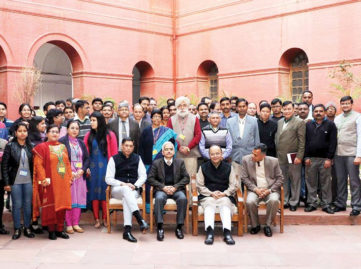 Finance minister Arun Jaitley in a group photograph with the economic survey team led by chief economic adviser Arvind Subramanian, on January 30, a day before its presentation in parliament.