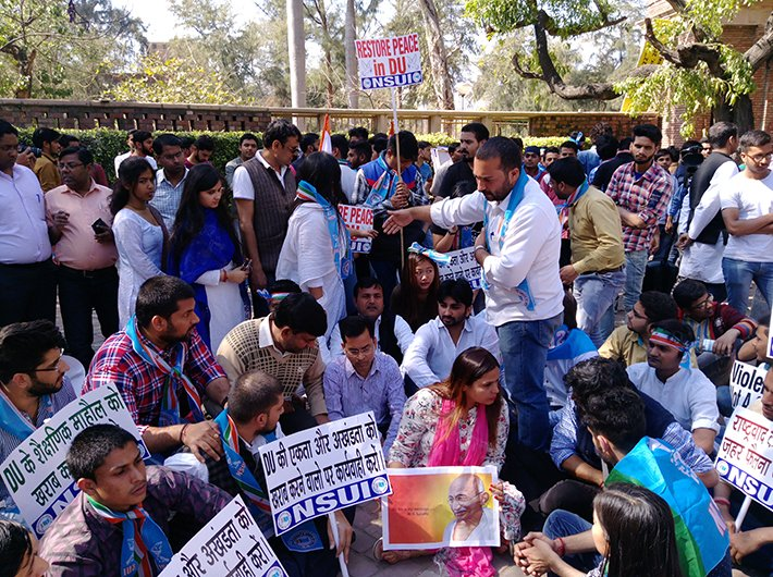 NSUI members staging protest in Delhi University campus