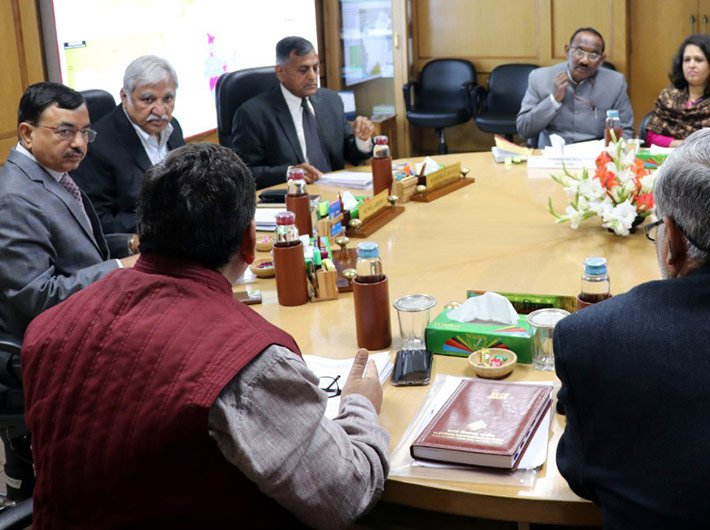 Chief Election Commissioner Sunil Arora, Election Commissioners Ashok Lavasa and Sushil Chandra and senior officers of ECI in a meeting with the Secretary, Legislative Department of the Ministry of Law and Justice, Dr. G. Narayana Raju to discuss pending electoral reforms on Tuesday.